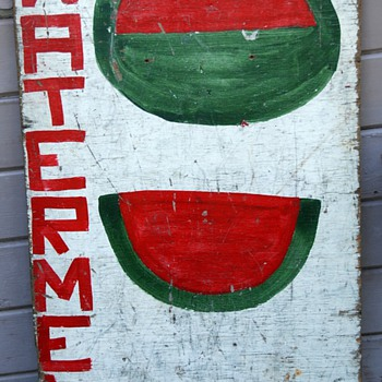 Modern Folk Art? Wooden Fruit Stand Sign - Folk Art