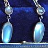 "Antique Ceylon Moonstone Pendant Earring 835 Silver Germany 1.75"""