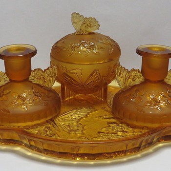 Frosted Amber Glass Dressing Table Set - Sowerby Glass 2552 - Glassware
