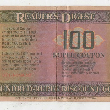 Vintage Reader's Digest India One Hundred Rupee Discount Coupon Note, Is it Rare ? - Paper