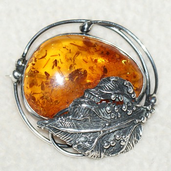 Amber Pin and Bangle - Fine Jewelry