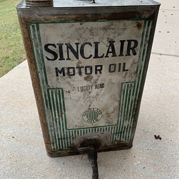 Unique 1917-1920 Sinclair Motor oil 5 gallon square tin - Petroliana