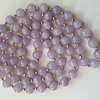 Lavender jadeite and 14k gold vintage beads necklace.