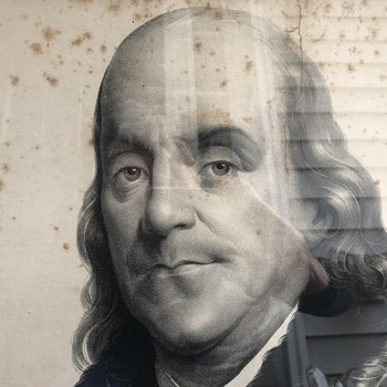 Benjamin Franklin Large Engraving Lithy of M. H. Traubel & Co. 46 ½ Walnut St. Phila - Posters and Prints