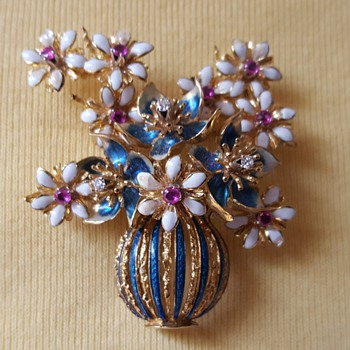 Ruby Diamond Enamel Brooch - Fine Jewelry
