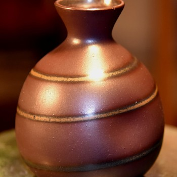 Very simple and elegant vase with a single dimple on one side - unsigned. - Pottery