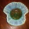 Green Opalescent Uranium Glass Candy/Nut Dish