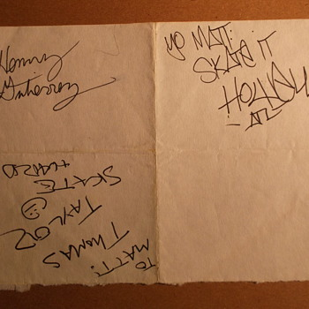 Skateboarder Autographs: Thomas Taylor, Henry Gutierrez, and Andy Howell (c. 1990) - Paper