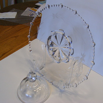 Crystal relish tray with cover for center.