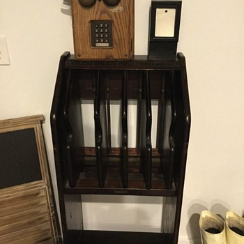Vintage Bell System phone book stand and vintage phone