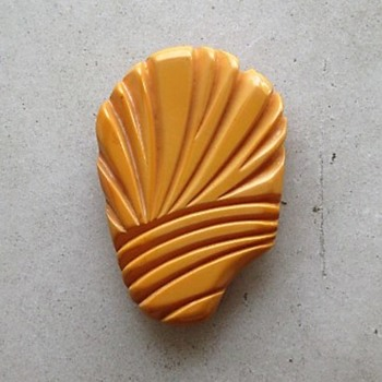 Egg yolk bakelite freeform clip - Costume Jewelry