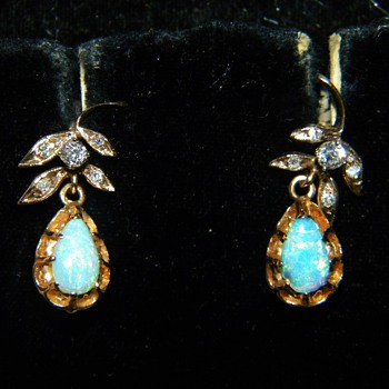 Antique Victorian Semi-Black Opal OMC Diamond 15k Earrings - Fine Jewelry