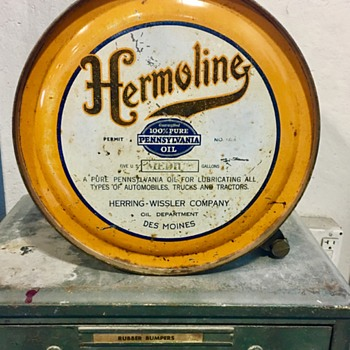 Hermoline oil rocker can Des Moines IA - Petroliana