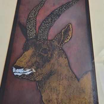 """1969 Woodcut titled """"Koch's Gazelle"""" - Posters and Prints"""