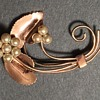 Vintage copper brooch; leaves and faux pearls