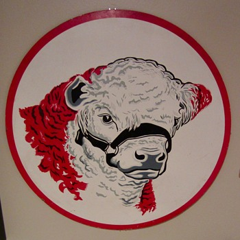 1950s Cow masonite sign