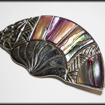 Vintage 1980's Brooch - Marked DURI - Abalone Paua Shell - Costume Jewelry