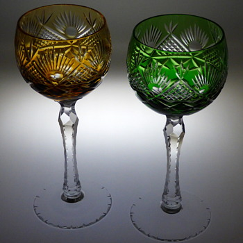 Bohemian Amber And Green Cased Cut To Clear Wine Glasses? - Glassware