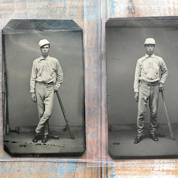 Pair of Baseball Tintypes/Ambrotypes (Tucker Brothers from 1872 Pepperell, MA Ball Club) - Baseball