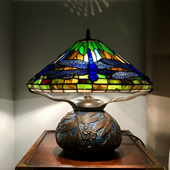 Tiffany Dragonfly Lamp with Mosaic base. - Lamps