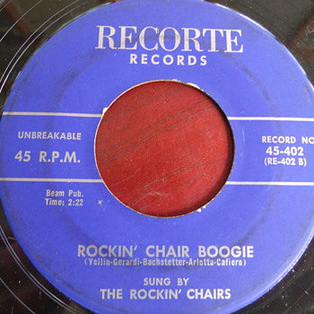 "1958 The Rockin' Chairs ""Rockin' Chair Boogie"" b/w ""A Kiss is a Kiss"" 45rpm - Records"