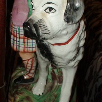 Royal Old Staffordshire Ware (1900-1920) St. Bernards With The Prince And Princess - Figurines