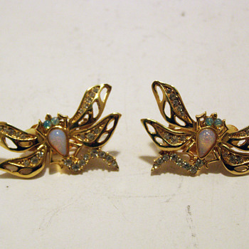 Vintage Givenchy Jeweled Dragonfly Clip Earrings