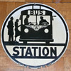 New Jersey Bus Stop Sign Porcelain 1940's
