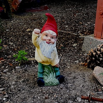 Concrete Lawn Gnome Plus Various Objects On What Passes for My Lawn - Figurines