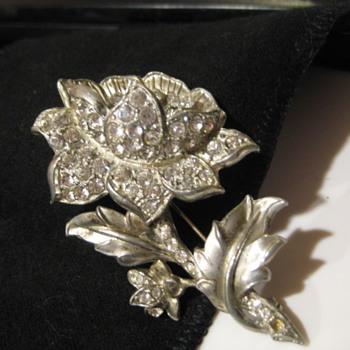 1930s Flower Rhinestone Brooch - Costume Jewelry