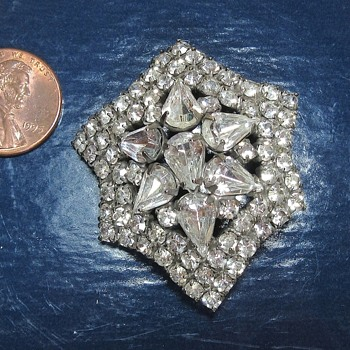 Vintage Domed Rhinestone Brooch - Costume Jewelry
