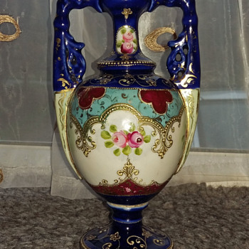 Cobalt blue and gold vase with handles - Pottery