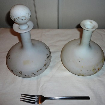 Vintage Milk Glass Bottles - Glassware