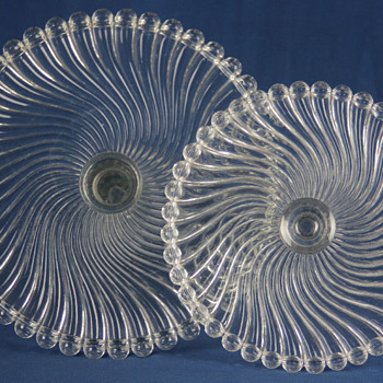 "McKee Bros ""Ray"" cake stands c1894 - Glassware"