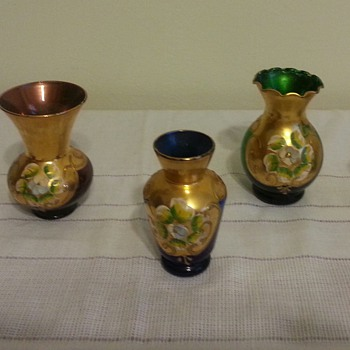 Beautiful small Bohemian? bud vases - Art Glass