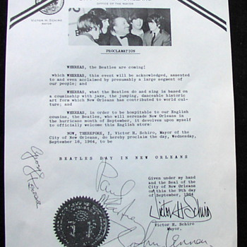 Beatles Proclamation...New Orleans...1964 - Music Memorabilia