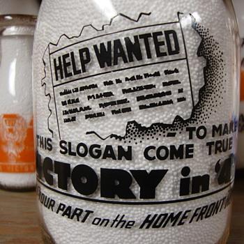 """VICTORY IN '43"" War Slogan Milk Bottle......... - Bottles"