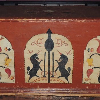 Painted PA or New England Blanket Chest 1800-1825