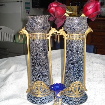 Hughe pair of Kralik mounted vases - Art Glass
