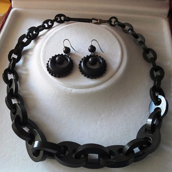 Antique Victorian vulcanite/Gutta Percha mourning jewelry; earrings and necklace  - Victorian Era