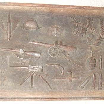 WW1 Trench Art relief carved wood plaque - Military and Wartime