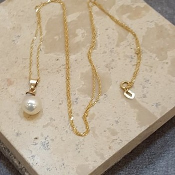 18K YELLOW GOLD NECKLACE W/BAROQUE PEARL PENDANT  - Fine Jewelry