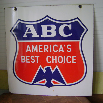 Americas Best Choice ABC 1950s porcelain sign 35inx34in
