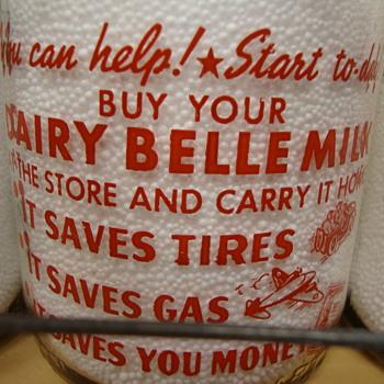 Dairy Belle Farms Quart War Slogan Milk Bottle.... - Bottles