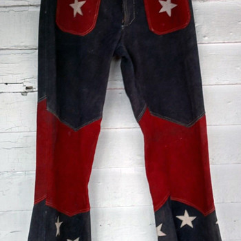 1960's Red, White & Blue Counter Culture Hippie Biker Jeans - Mens Clothing