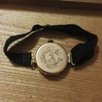 Antique Gold Watch, Ribbon Strap, Exquisite engraving,   - Wristwatches