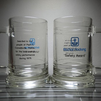 1978 Anchor Hocking Glass Safety Award Mugs South Connellsville, Pennsylvania Plant 5 - Kitchen