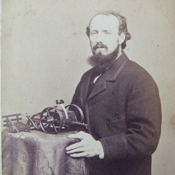 CDV of an early inventor with model