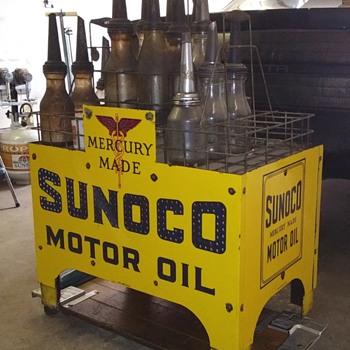 Sunoco oil bottle Island rack - Petroliana