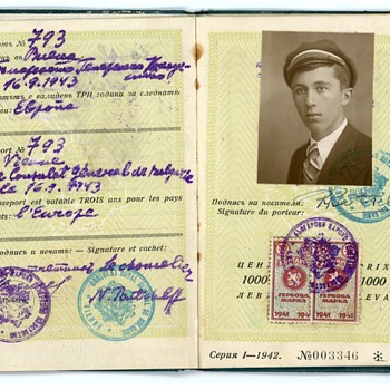 Ca. 1943-44 Bulgarian Passport - Ruslan Raichev, Orchestra Conductor - travel to Germany, Yugoslavia, NDH, Hungary - Paper